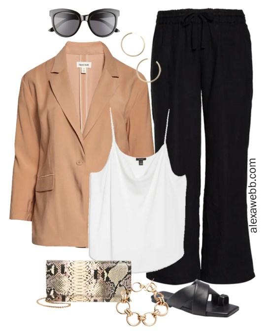 Plus Size Linen Outfits with black linen wide leg pants, tan blazer, white cami, snake clutch, and sandals - Alexa Webb