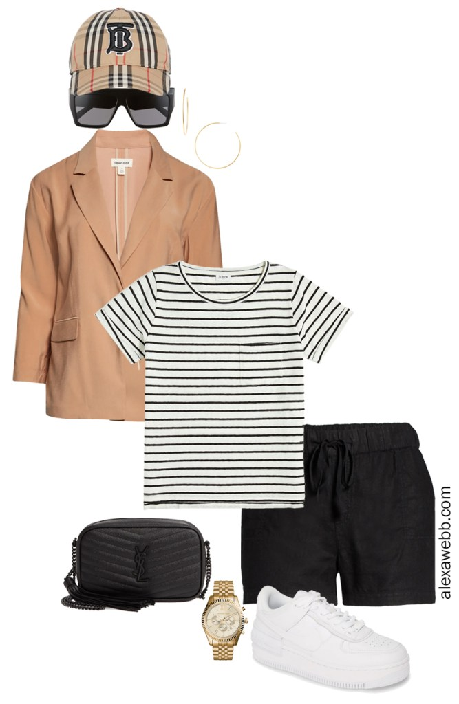 Plus Size Micro Capsule with Black Linen Shorts, a Striped T-Shirt, Lightweight Blazer, and Sneakers - Alexa Webb