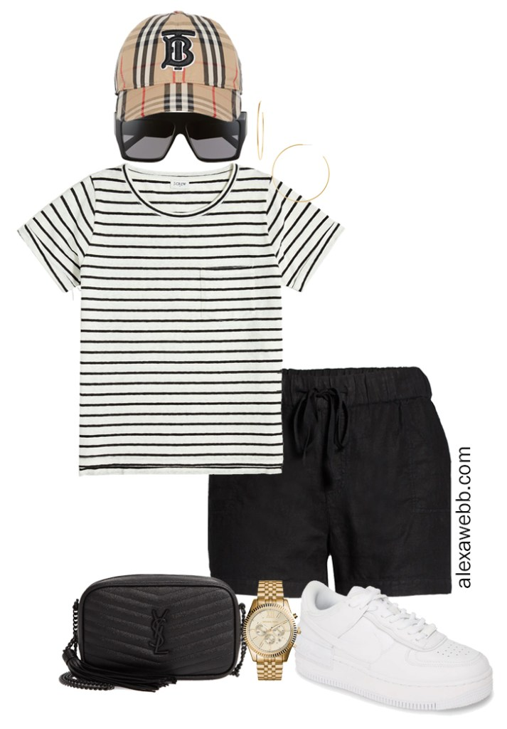 Plus Size Micro Capsule with Black Linen Shorts, a Striped T-Shirt, and Sneakers - Alexa Webb