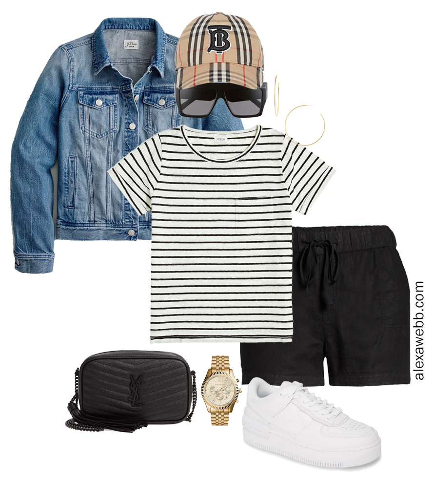 Plus Size Micro Capsule with Black Linen Shorts, a Striped T-Shirt, Denim Jacket, and Sneakers - Alexa Webb