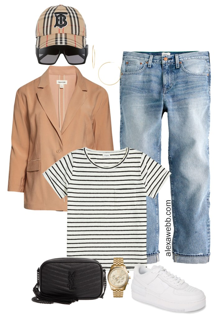 Plus Size Micro Capsule Outfit with Boyfriend Jeans, a Striped T-Shirt, Lightweight Blazer, and Sneakers - Alexa Webb