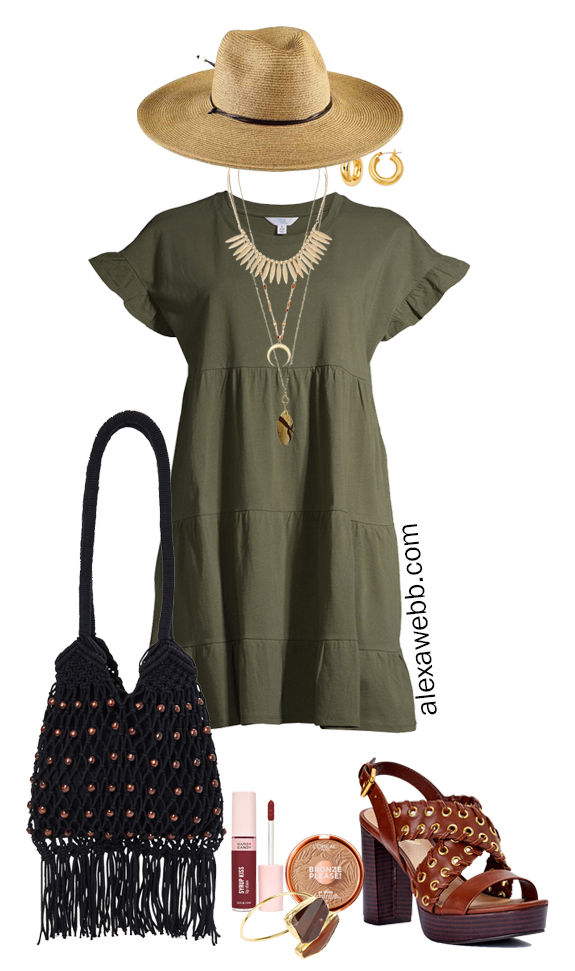 Plus Size Boho Summer Outfits with Walmart featuring an olive green tiered knit dress, platform heeled sandals, a macrame hobo bag, and a wide brim fedora hat - Alexa Webb