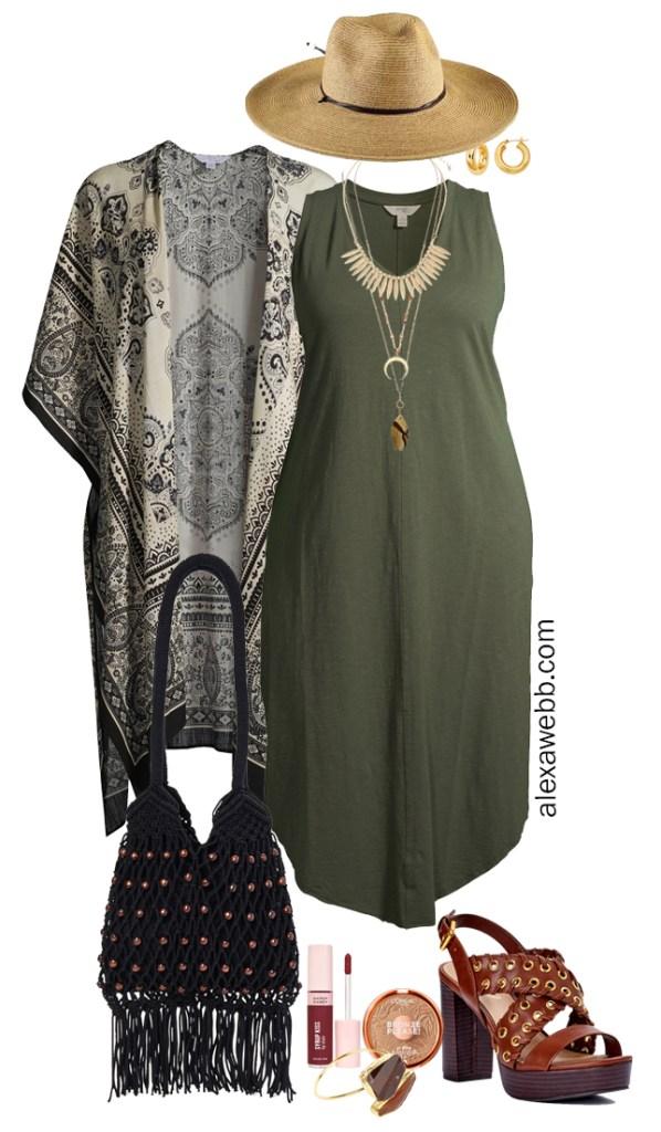 Plus Size Boho Summer Outfits with Walmart featuring an olive green maxi tank dress, black kimono, platform heeled sandals, a macrame hobo bag, and a wide brim fedora hat - Alexa Webb