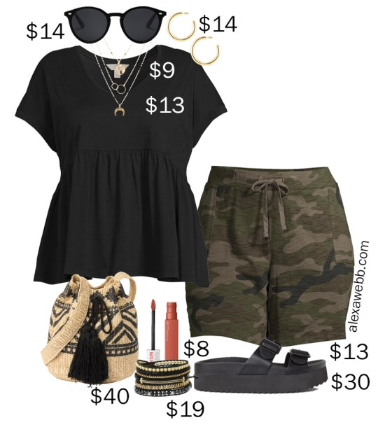Plus Size Camo Shorts Athleisure Outfit for Summer with Knit Camo Shorts, a Peplum T-Shirt, Platform Sandals, and a Straw Bag - Alexa Webb