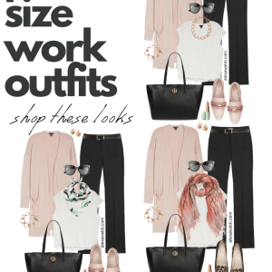 Plus Size Work Outfits with blush pink cardigan, white blouse, and black trousers - Alexa Webb