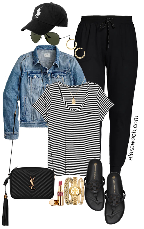Plus Size Summer into Fall Athleisure Outfits with Black Joggers, Striped T-Shirt, Denim Jacket, Crossybody Bag, and Tory Burch Miller Cloud Sandals - Alexa Webb