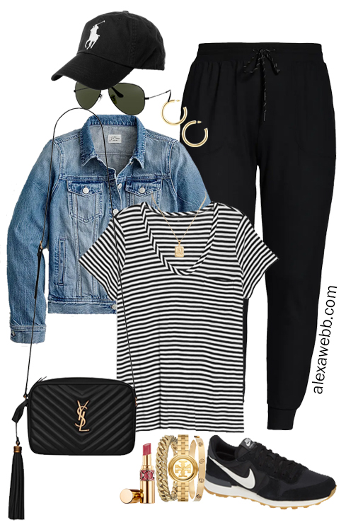 Plus Size Summer into Fall Athleisure Outfits with Black Joggers, Striped T-Shirt, Denim Jacket, Crossybody Bag, and Nike Sneakers - Alexa Webb