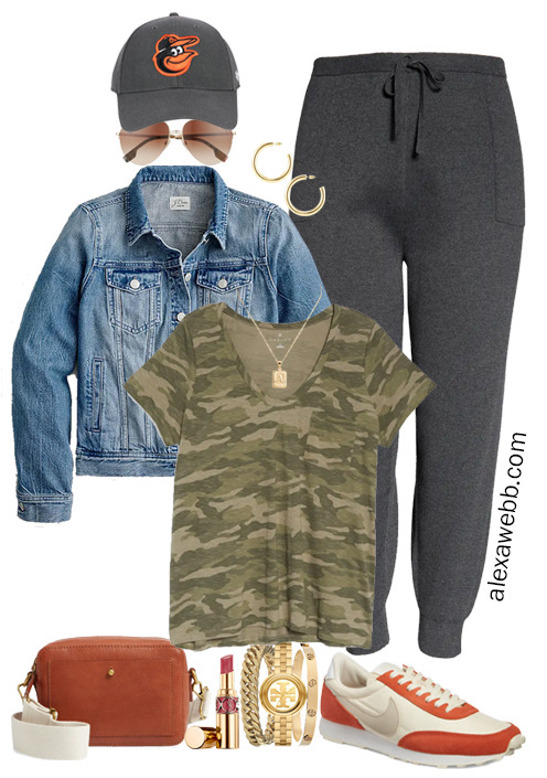 More Plus Size Athleisure - Fall Outfit Idea with a camo t-shirt, joggers, and denim jacket - Alexa Webb
