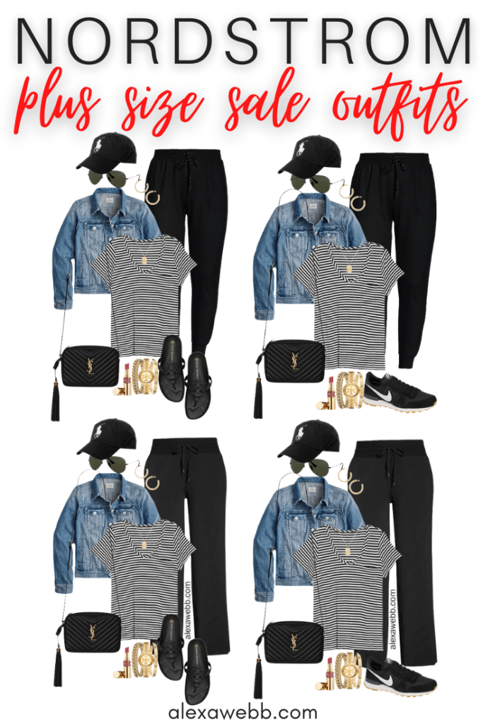 Plus Size Summer into Fall Athleisure Outfits with Black Wide Leg Pants, Striped T-Shirt, Denim Jacket, Crossybody Bag, and Tory Burch Cloud Miller Sandals or Black Retro Nike Sneakers - Alexa Webb