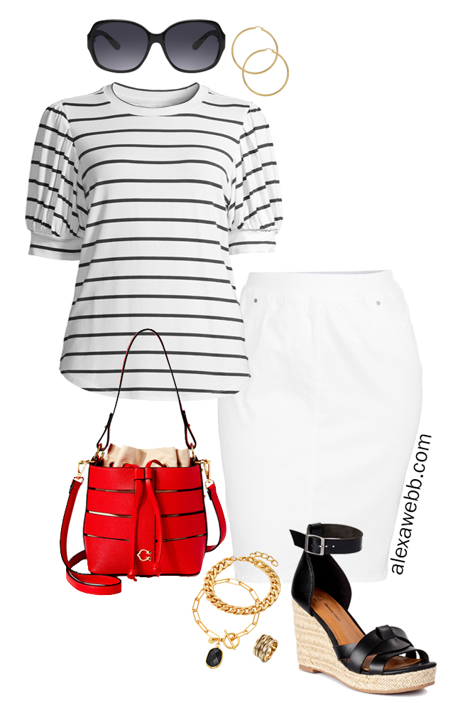 Plus Size Summer Stripes with stripe puff sleeve tee, white denim skirt, wedge sandals, and red bucket bag - Alexa Webb