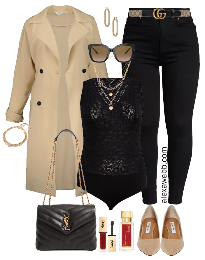 Plus Size Black Jeans Night Outfits with a trench coat, black lace bodysuit, YSL bag for date night - Alexa Webb