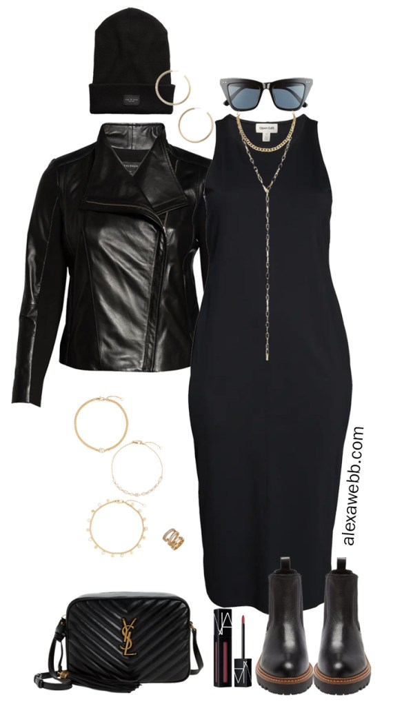 Plus Size Black Dress Outfits for fall with a plus size genuine leather biker jacket, lug sole booties, a YSL crossbody bag, and gold jewelry. This look has 90s vibes and I love it! See more at Alexa Webb.