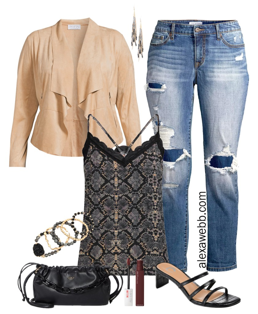 Plus Size Snake Print Outfits with Walmart. A night out outfit with a snake print cami, a plus size suede jacket, and boyfriend jeans. Alexa Webb