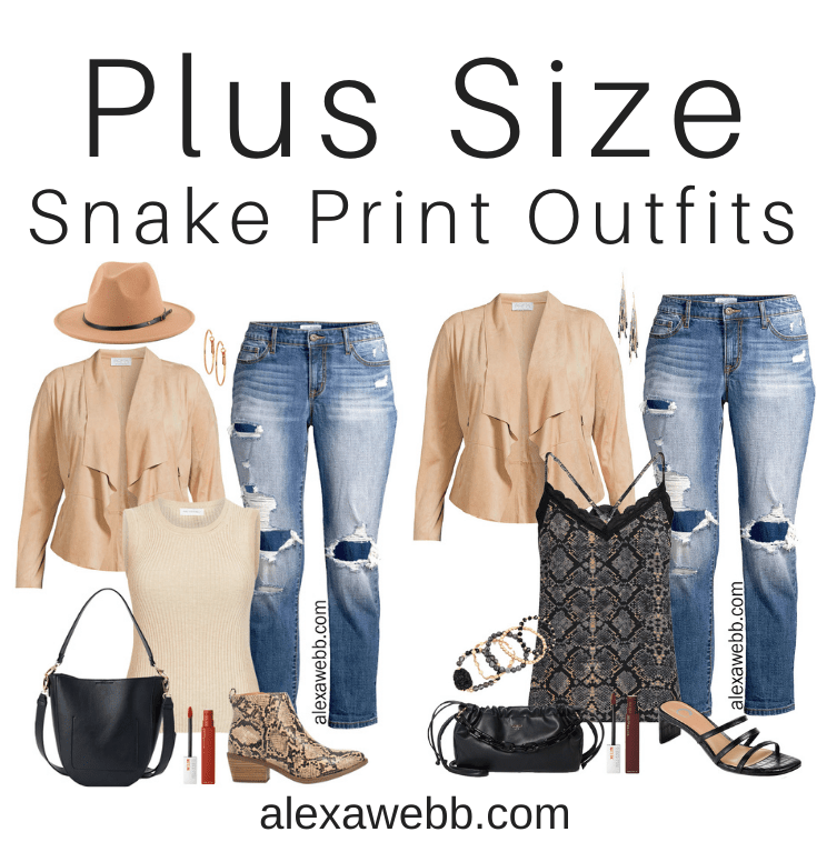 Plus Size Snake Print Outfits with Walmart. Plus size fall outfit ideas with a beige suede jacket and boyfriend jeans. Alexa Webb