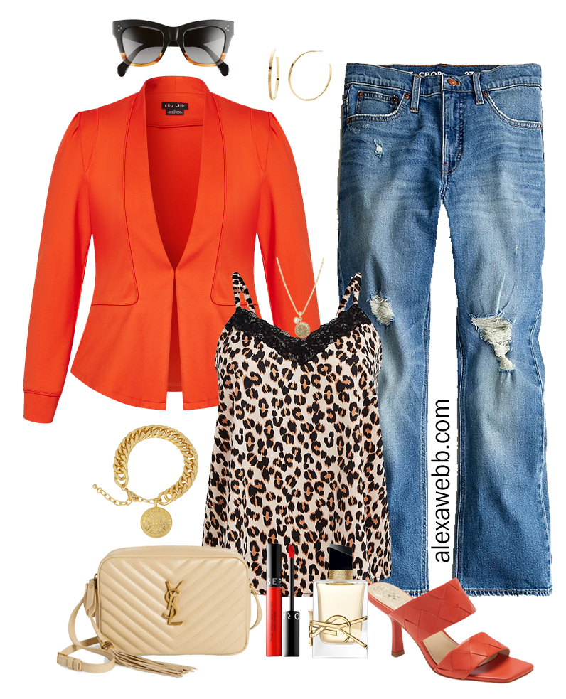 Plus Size Bright Orange Blazer Outfit with leopard print cami, distressed jeans, heeled sandals, and YSL crossbody bag. Great for a night out! Alexa Webb