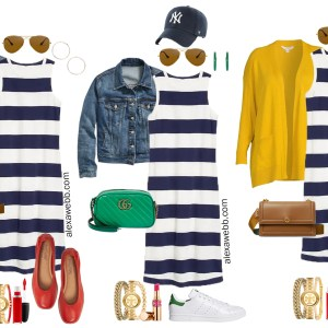 A plus size rugby stripe dress outfit. Perfect for fall casual looks or a teacher's outfit. Alexa Webb