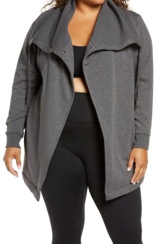 Plus Size Loungewear Wrap Jacket in Grey - Alexa Webb
