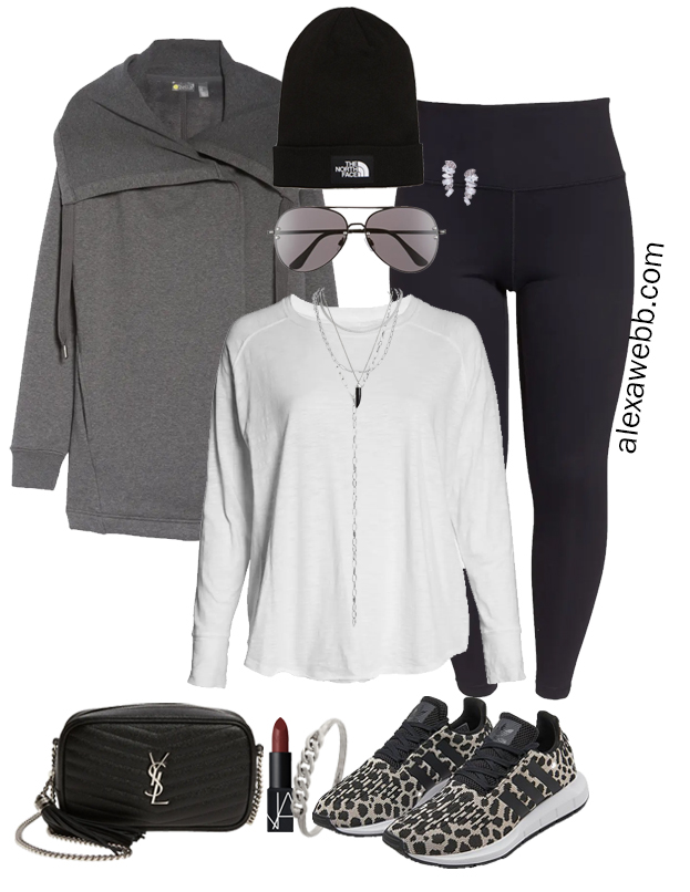 Plus Size Fall Athleisure Outfit Idea with leggings, a wrap jacket, and adidas leopard sneakers. Alexa Webb