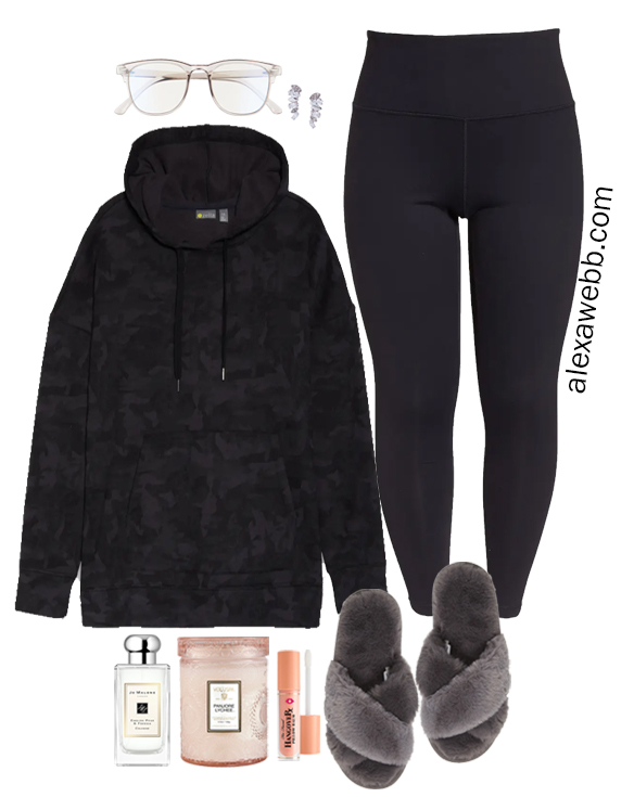 Plus Size Camo Tunic Hoodie Loungewear with Leggings and Slippers from My Plus Size Athleisure Capsule for Fall - Alexa Webb