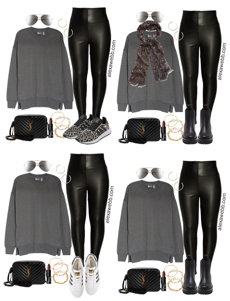 Plus Size Faux Leather Leggings Outfit Ideas from a Plus Size Athleisure Capsule for Fall. Alexa Webb