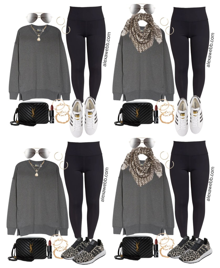 Plus Size Athleisure Outfits with a Grey Tunic Sweatshirt and Leggings from a Plus Size Athleisure Mini Capsule for Fall. Alexa Webb