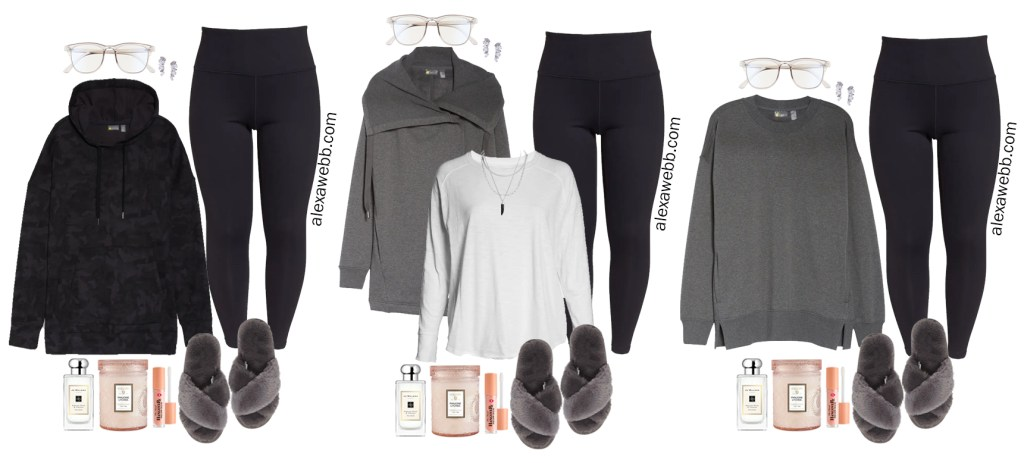Plus Size Staying In Outfits or Loungewear from my plus size athleisure mini capsule wardrobe for fall. Alexa Webb