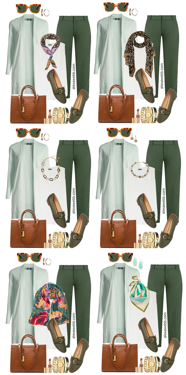 2021 Plus Size Fall Work Capsule Wardrobe by Alexa Webb. This is just part one of a series. These business casual looks feature green pants and a mint cardigan.