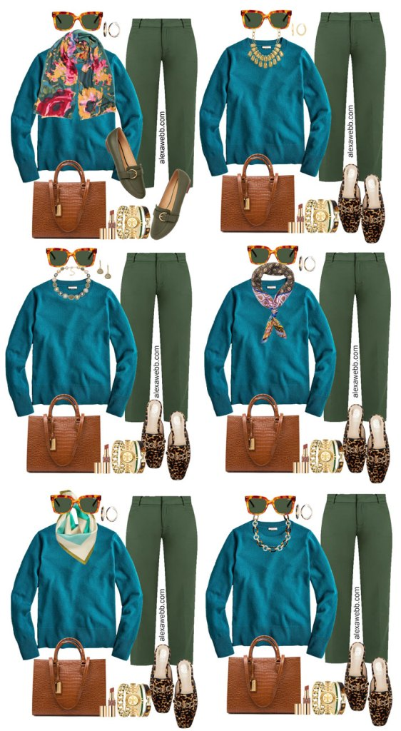 Plus Size Green Pants with Teal Sweater Work Outfits from Alexa Webb's 2021 Plus Size Fall Work Capsule Wardrobe