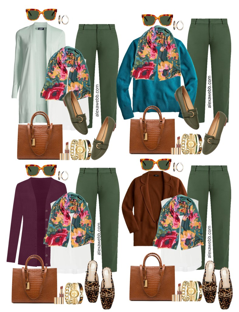 Plus Size Green Pants & Floral Scarf Work Outfits for Fall. From Alexa Webb's 2021 Plus Size Fall Work Capsule Wardrobe.