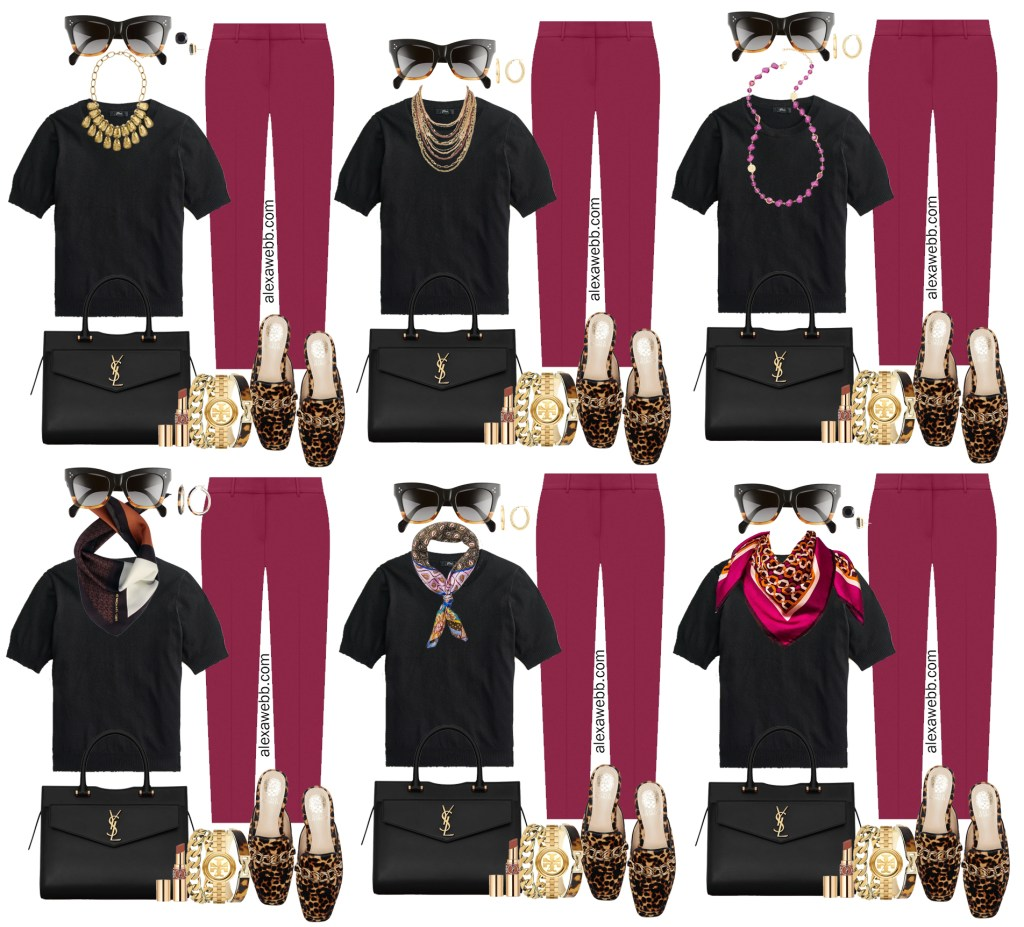 Plus Size Plum Pants with Black Silk Sweater Work Outfits from Alexa Webb's 2021 Plus Size Fall Work Capsule Wardrobe