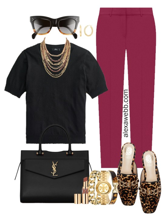 Plus Size Plum Pants & Black Silk Sweater Outfits from Alexa Webb's 2021 Plus Size Fall Work Capsule Wardrobe. This outfit features a beaded and chain statement necklace, leopard mules, and a YSL black satchel.