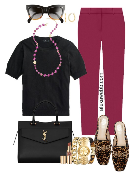 Plus Size Plum Pants & Black Silk Sweater Outfits from Alexa Webb's 2021 Plus Size Fall Work Capsule Wardrobe. This outfit features a pink beaded long necklace, leopard mules, and a YSL black satchel.