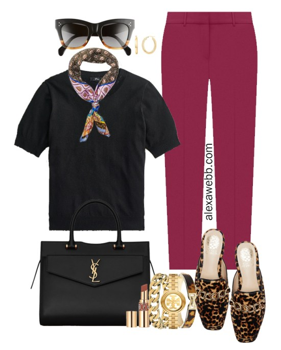 Plus Size Plum Pants & Black Silk Sweater Outfits from Alexa Webb's 2021 Plus Size Fall Work Capsule Wardrobe. This outfit features a paisley silk scarf, leopard mules, and a YSL black satchel.