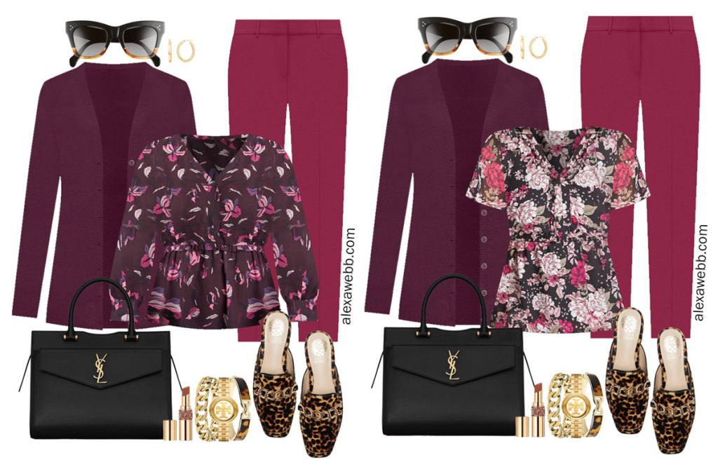 Plus Size Plum Pants and Eggplant Cardigan Outfits from Alexa Webb's 2021 Plus Size Fall Work Capsule Wardrobe. These business casual outfit feature printed blouses, leopard mules, and a black Saint Laurent satchel.