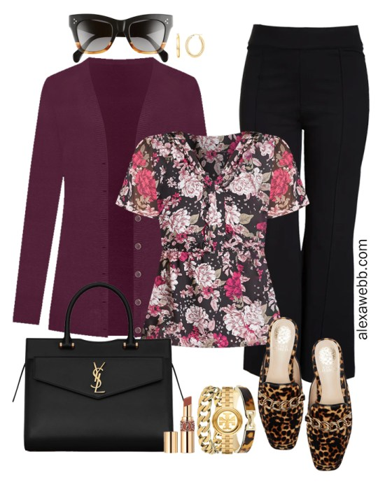 Plus Size Black Flared Pants and Eggplant Cardigan Outfits from Alexa Webb's 2021 Plus Size Fall Work Capsule Wardrobe. This business casual outfit features a floral printed blouse, leopard mules, and a black Saint Laurent satchel.