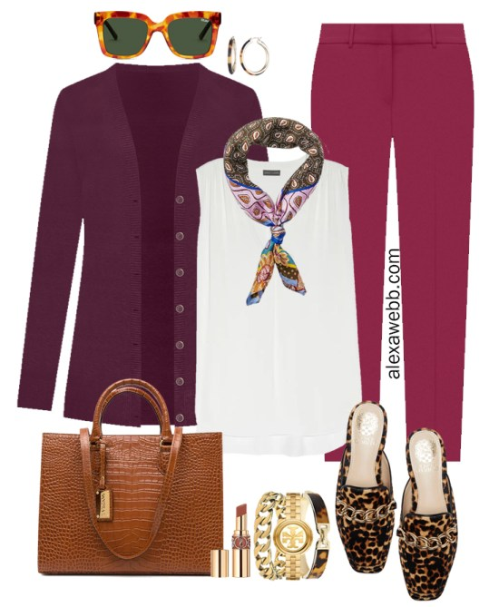 Plus Size Plum Pants and Eggplant Cardigan Outfits from Alexa Webb's 2021 Plus Size Fall Work Capsule Wardrobe. This business casual outfit features a printed silk scarf, leopard mules, and a cognac tote.