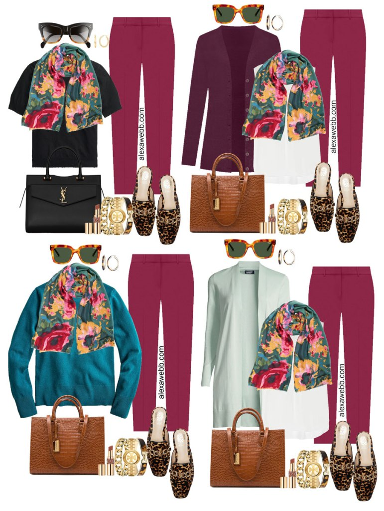 Plus Size Plum Pants Outfits from Alexa Webb's 2021 Plus Size Fall Work Capsule Wardrobe. These business casual outfits feature a floral scarf, leopard mules, and a cognac tote.