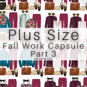 Plus Size Plum Pants Outfits from Alexa Webb's 2021 Plus Size Fall Work Capsule Wardrobe