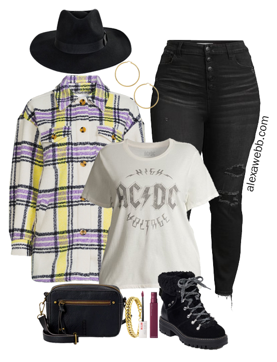 A plus size shacket outfit idea with a plussize plaid shacket, black distressed jeans, graphic t-shirt, rancher hat, and hiker booties by Alexa Webb