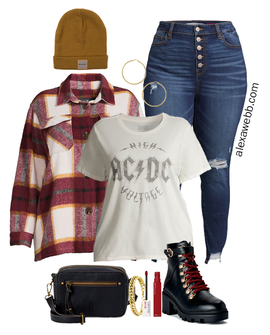 A plus size shacket outfit idea with a plussize plaid shacket, distressed jeans, graphic t-shirt, khaki beanie, and hiker booties by Alexa Webb