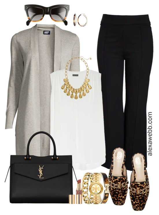 Plus Size Black Flare Pants & Grey Cardigan Outfits from from my 2021 Plus Size Fall Work Capsule Wardrobe - Alexa Webb - This plus size business casual outfit features black trousers, an off-white blouse, a grey cardigan, and leopard mules.
