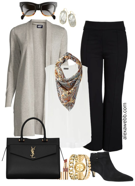 Plus Size Black Flare Pants & Grey Cardigan Outfits from from my 2021 Plus Size Fall Work Capsule Wardrobe - Alexa Webb - This plus size business casual outfit features black trousers, an off-white blouse, a grey cardigan, and black ankle booties with kitten heels.