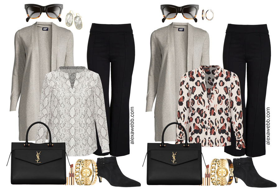 Plus Size Black Flare Pants & Grey Cardigan Outfits from my 2021 Plus Size Fall Work Capsule Wardrobe - Alexa Webb - These plus size business casual outfit ideas feature black trousers and a grey cardigan.