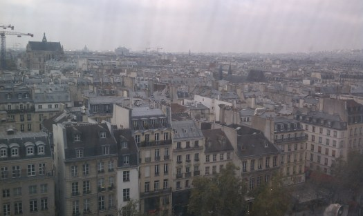 View of the flat skyline of Paris from atop the Pompidou Center. Photo by the author.