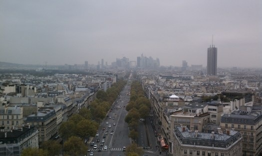 View towards La Defense, from the top of the Arc de Triomphe. Photo by the author.