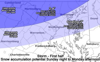 Example of snow forecast communicating levels of undertainty; image from the Capital Weather Gang