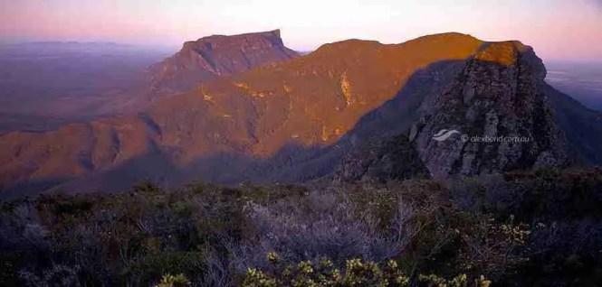 Ridge walk stirling range Sunrise from Bakers Knob 4x5 wooden field camera Western Australia.