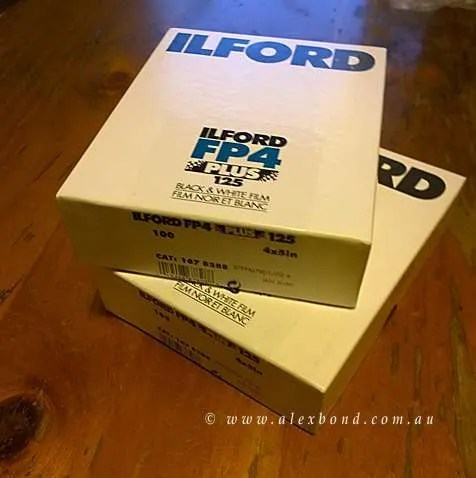Film speed test Ilford FP4 4x5 sheet film