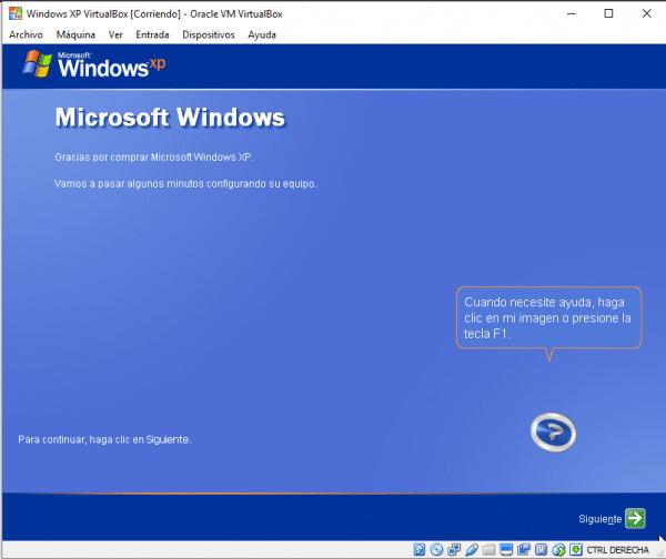 Windows XP en VirtualBox