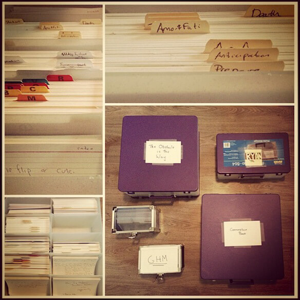 Ryan Holiday's notecard system looks really cool but must be a real pain to actually do. http://ryanholiday.net/the-notecard-system-the-key-for-remembering-organizing-and-using-everything-you-read/